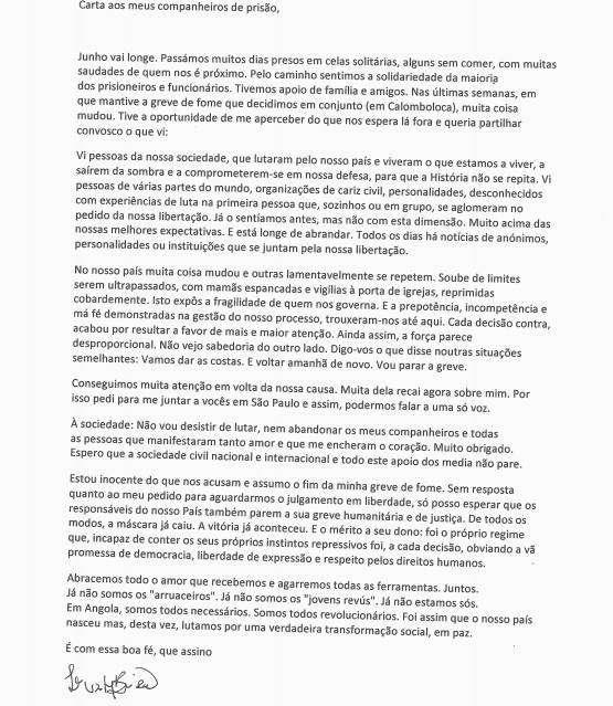 Luaty Beirão anuncia fim de greve de fome